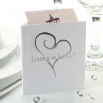 Contemporary Heart Lottery Ticket Holders - White & Silver (10)